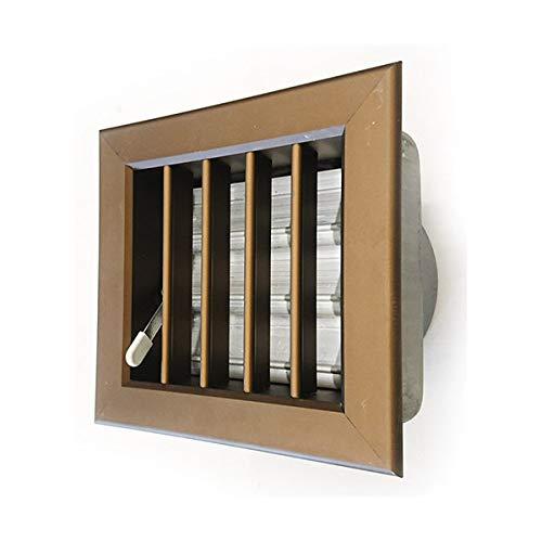 ventilation bronze Grille 180x180mm encastré entrée 120 mm. cheminée, avec amortisseur et de la bouche, la couleur de bronze.