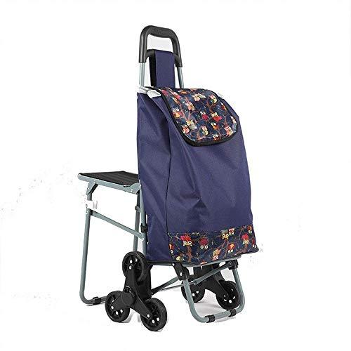 XUSHEN-HU Carro de la compra impermeable de tela Oxford con 6 ruedas, carrito de la compra plegable con diseño ligero (color: azul, tamaño libre) cocina