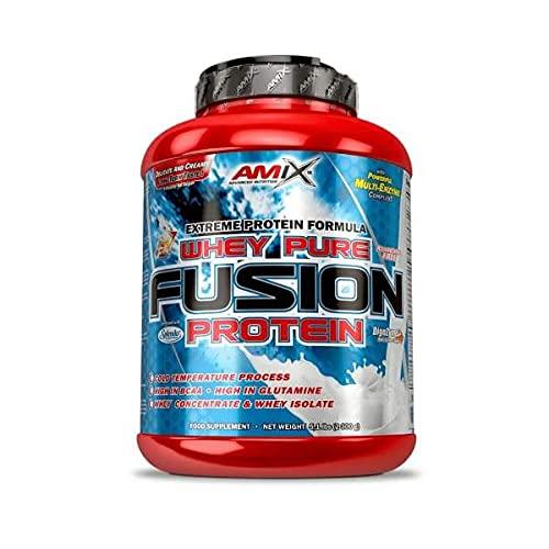 AMIX - Proteína Whey Pure Fusion, Ayuda a Tonificar y Aumentar la Masa Muscular, Rica en BCCAs y Glutamina, Fácil Digestión, Baja en Grasas, 2,3 Kg, Sabor Cacahuete Chocolate Caramelo