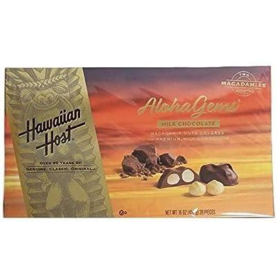 Hawaiian Host Aloha Gems, Chocolate Covered Premium Whole Macadamias 16 OZ