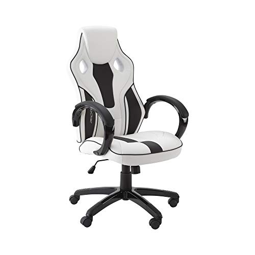X-Rocker Maverick Gaming Chair, Ergonomic Home Mid-Back Office Chair, PU Leather, Height Adjustable Swivel Base with Natural Lumbar Support Curve, White and Black