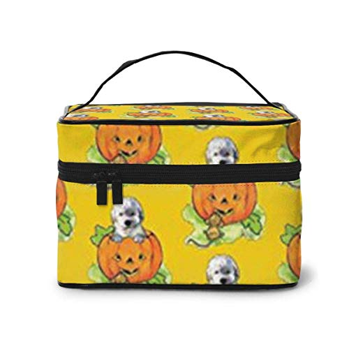 Vanity et Trousses à Maquillage Halloween Labradoodle Puppy Travel Cosmetic Case Organizer Portable Artist Storage Bag with Built-in Pocket Multifunction Case Toiletry Bags