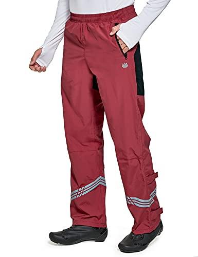 FitsT4 - Pantalones de lluvia para hombre, impermeables, para senderismo, trabajo, golf, pesca, viajes, resistente al viento, con bolsillos con cremallera - rojo - Large