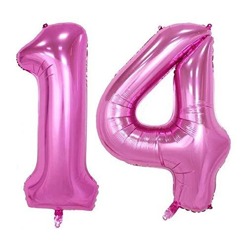 DIWULI, XXL aantal ballonnen, nummer 14, roze ballonnen, aantal ballonnen roze, folieballonnen aantal jaren, folieballonnen 14e verjaardag, bruiloft, feest, decoratie, geschenkdecoratie