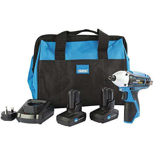 Draper 99723 Storm Force 10.8V Impact Driver Kit (+2 x 4Ah Batteries, Charger and Bag)