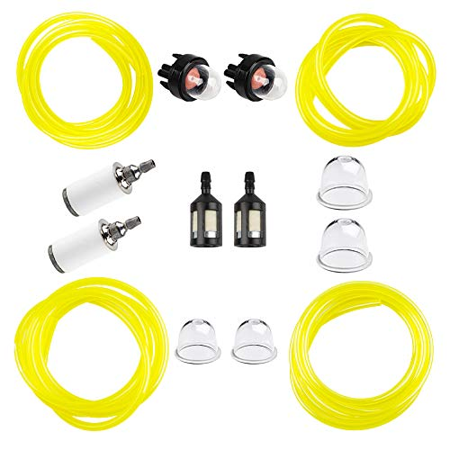 HUZTL 4 Size 4-Feet-Long Fuel Line Gas Hose Tube for Small Engine Stihl Weedeater Craftsman Husqvarna String Trimmer Chainsaw Blower with Snap in Primer Bulb, Primer Pouland Bulb, Fuel Filter