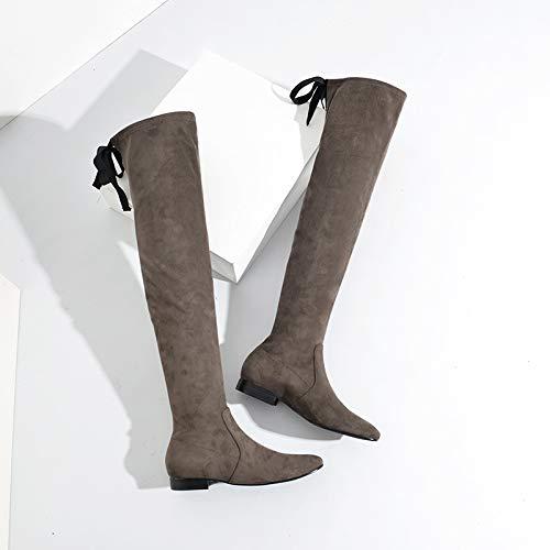 Shukun enkellaarsjes over de knielaarzen lange laarzen herfst en winter dikke zwarte dunne stretch dameslaarzen studenten met platte schoenen