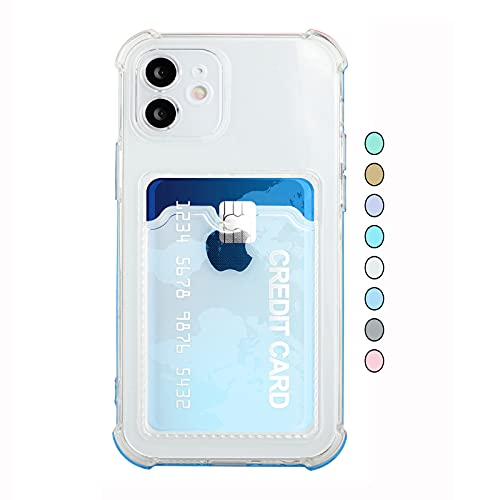 ESSTORE Funda cartera para iPhone SE 2020/8/7 con ranura para tarjetas, ultra delgado suave TPU cuerpo completo cubierta protectora del teléfono+soporte, translúcido