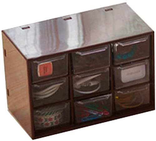 Guuisad Gabinete de almacenamiento de plástico con 9 cajones y caja de maquillaje para joyas, organizador de joyas para el hogar (blanco) (color: marrón)