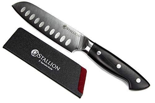 Stallion Professional Messer Santokumesser 12,5 cm - Klinge aus deutschem 1.4116 Messerstahl und Griff aus G10 GFK