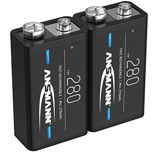 ANSMANN 9V Akku Typ 280mAh NiMH 1,2V - E-Block Batterien wiederaufladbar mit geringer Selbstentladung ideal für Fernsteuerung, Messgeräte, Multimeter, Mikrofon (2 Stück)
