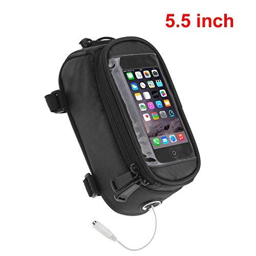 Caja del bolso del marco delantero del teléfono de la bici para el teléfono celular debajo de 5.5 'iPhone 7 8 con pantalla táctil Visera del sol Teléfono de gran capacidad Impermeable Bicicleta Top T