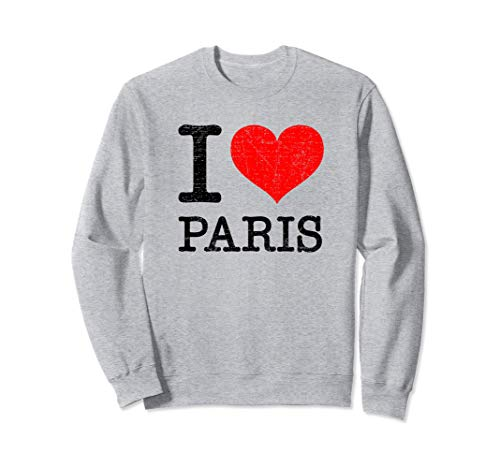 I Love Paris France Vintage Classic Red Heart gift Sudadera