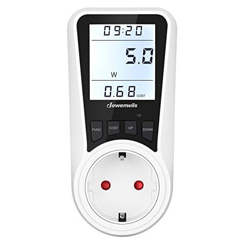 DEWENWILS Energiekostenmessgerät, Strommessgerät, LCD Bildschirm mit Hintergrundbeleuchtung, Überlastschutz und Kindersicherung, 16A/3680W