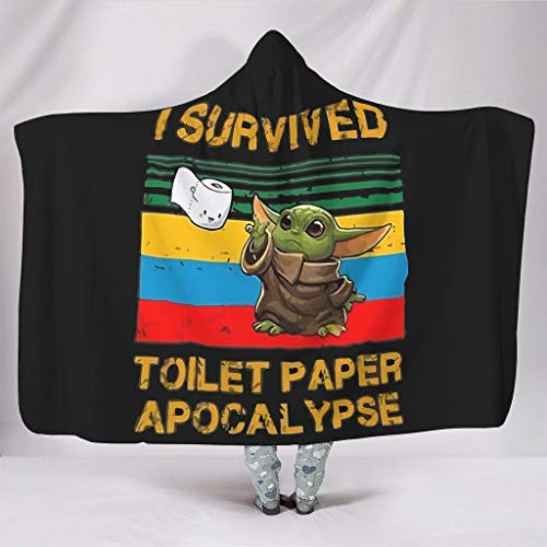 Dogedou Ik Overleefde Toiletpapier Apocalypse 2020 Vintage Baby Yoda Lichtgewicht Zachte Omkeerbare Warme Wasbare Dekens voor Sofa Stoel Bed Office Reizen Camping