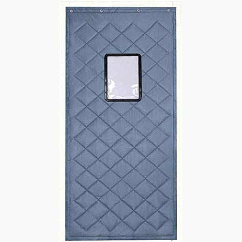 ZXL Grauer Türvorhang Wärmeschutz mit Fenster Warmdämmung Eingangstürfüllung Kaltblockierung Wasserdicht Winddicht Raumteiler Noise Ruduce (Größe: 80cmx230cm)