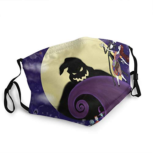 Unisex Reusable Windproof Anti-Dust Mouth Bandanas The Nightmare Before Christmas Skull Outdoor Camping Motorcycle Running Neck Gaiter With 2 Filters For Teen Men Women