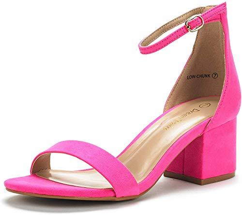 DREAM PAIRS Women's Low-Chunk Fuchsia Suede Low Heel Pump Sandals - 9 M US