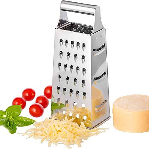 Edelstahl-Kistenreibe, Reiben für die Küche rutschfeste 4-seitige Mehrzweck-Reiben Superscharfe, leicht zu reibende Kistenreibe mit Handgriff für Küchengemüse Obst Käse