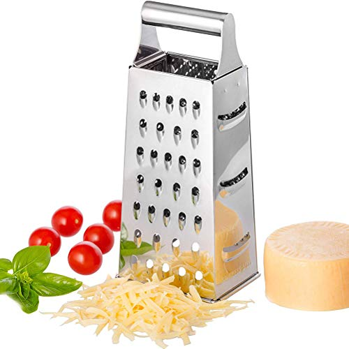 GMWD Stainless Steel Box Grater, Multi-Purpose 4 Sided Graters Cheese Graters Hand held Grater/Slicer/Zester for Kitchen Vegetables Fruits Cheeses