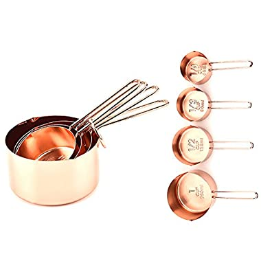 4Pcs Luxury Stainless Steel Measuring Cups Copper Plated Kitchen Measuring Tools For Ingredients, Liquid