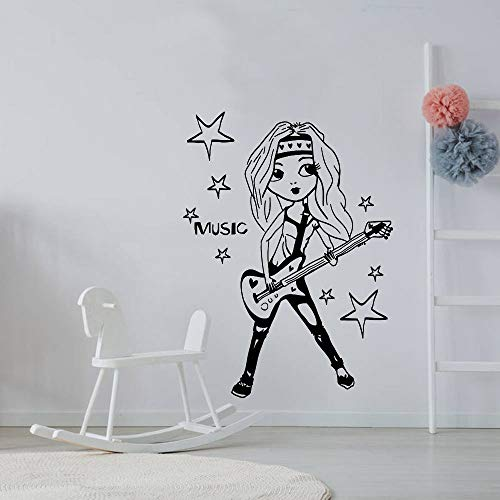 yaofale Emoji Poo Wandaufkleber Große Mädchen Gitarre Sänger Musikstars Jungen Und Mädchen Zimmer Wanddekoration DIY Vinyl Wandaufkleber 57x77 cm