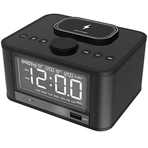 QI Handy Kabelloses Laden Wecker, LCD HD Digitalanzeige Bluetooth Lautsprecher Nachttisch Weckeren, FM-Radio Highlight einstellbar LED Snooze Tischuhr,Schwarz