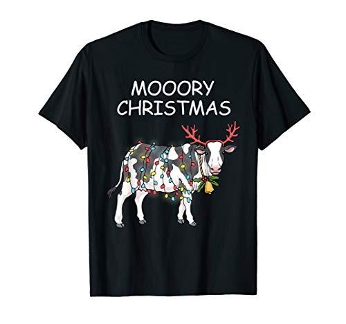 Merry Christmas Cow Tshirt Moory Lights Reindeer Cow Moo T-Shirt