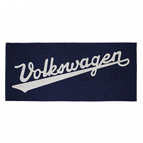 Volkswagen 311084500 Handtuch Badetuch Klassik Kollektion Strandhandtuch Schriftzug blau/beige
