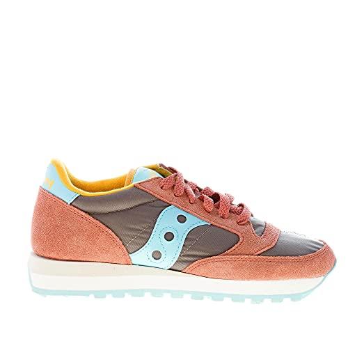 Saucony Donna Sneaker Jazz Original in Nylon e camoscio Grigio e Salmone più Blu Color Grigio Size 37.5