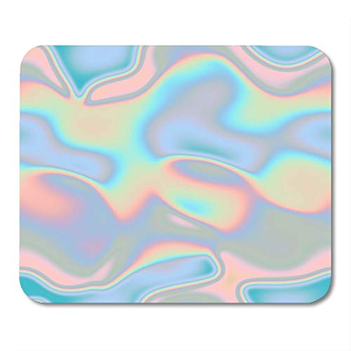 Emvency Mouse Pads Colorful Iridescent Holographic Blue Pattern Green Rainbow Metal Mermaid Mousepad 9.5' x 7.9' for Laptop,Desktop Computers Accessories Mini Office Supplies Mouse Mats