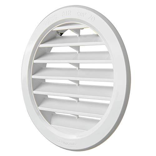 La Ventilazione T10B - Rejilla de ventilación redonda de plástico integrada, color blanco, diámetro 120 mm