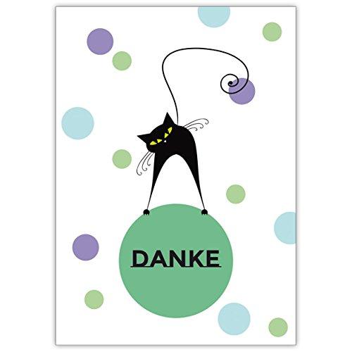 1 Fröhliche Katzen Dankeskarte (blau, grün): Danke • schöne Dankes Grußkarte mit Umschlag, geschäftlich & privat