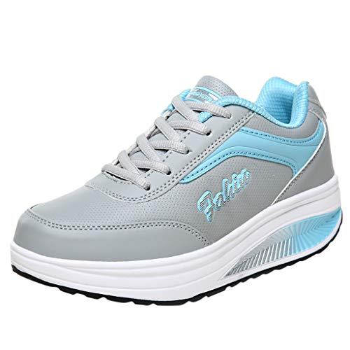 LSCOFFEE Damen Plateau Sneakers Weibliche Sommer Mode Atmungsaktive Schuhe Damen Freizeitschuhe Student Laufschuhe Walking Schuhe Slip On Turnschuhe Schuhe Bequeme...