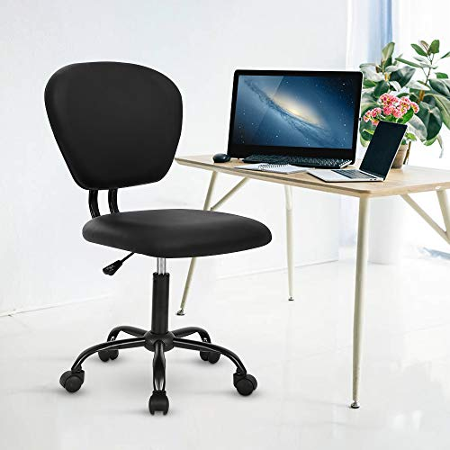 Desk Chair Armless Office Task Chair Swivel Rolling Chair Ergonomic Mid Back PU Leather Chair Executive Chair Rolling Stool with Adjustable Height Metal Base, Black