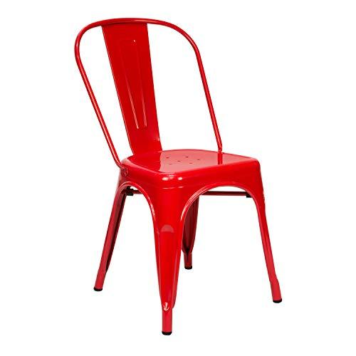 Vaukura Silla Oliix - Silla Industrial Metálica Brillo (Rojo)