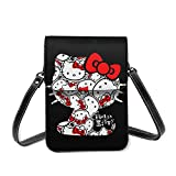 Hello Kitty Bolsas de hombro pequeño ligero Mini Cross Body Bag Correa con ranuras para tarjetas de crédito, bolsa multifuncional para teléfono