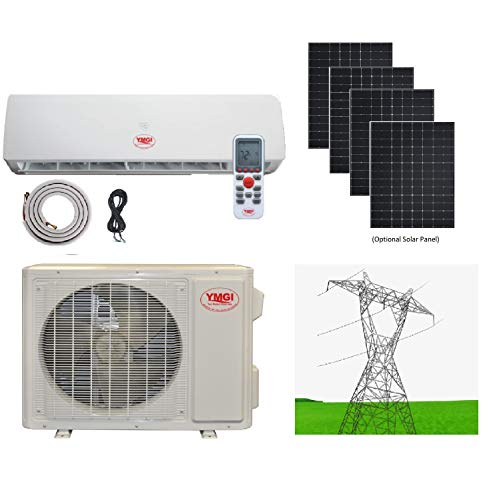 YMGI Ductless Mini Split Air Conditioner 1.5 Ton 18000 BTU up to 32 SEER Solar Assist Hybrid with Heat Pump with 15 Ft Installation Lineset Without Solar Panel