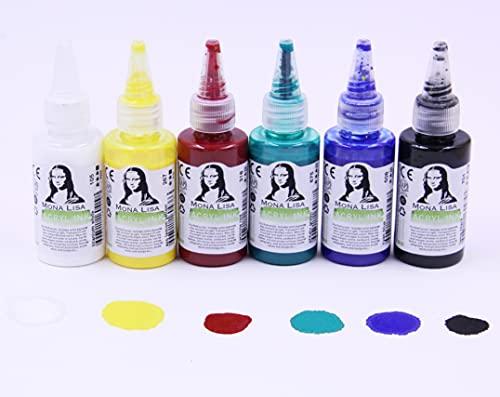 Monalisa - Juego de tinta acrílica en caja de plástico con 6 tubos de 40 ml - Pinturas acrílicas en forma líquida - Adecuado para acuarela, caligrafía, ilustración, escritura a mano, ilustración