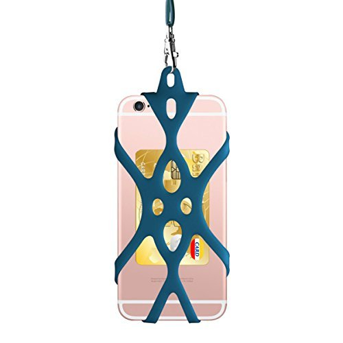 ROCONTRIP Phone Holder with Lanyard, Universal 4'' to 6'' Silicone Cover with Neck Strap Lanyard Pocket Holder for iPhone Samsung LG HTC ZTE Xiaomi Motorola Sony Huawei (Dark Blue)