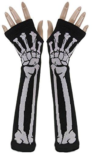 SEADEAR Skull Bone Skeleton Long Fingerless Gloves Arm Warmer Sleeve for Women Girls with Stylus