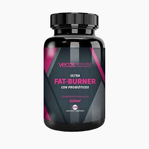 Ultra Fat Burner Vecos con Probióticos para disminuir las calorías – Quema grasas y termogénico para complementar con una dieta saludable – 100 cápsulas vegetales - 100% apto para veganos