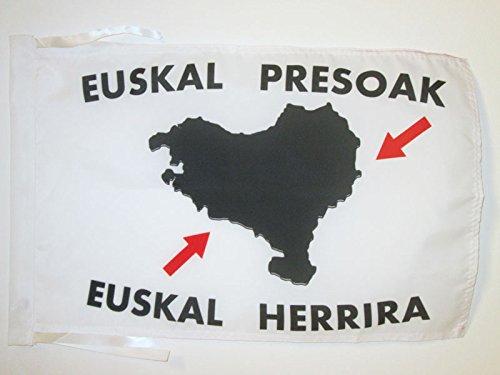 AZ FLAG Bandera del PAÍS Vasco EUSKAL HERRIRA 45x30cm - BANDERINA Vasca - EUSKADI 30 x 45 cm cordeles