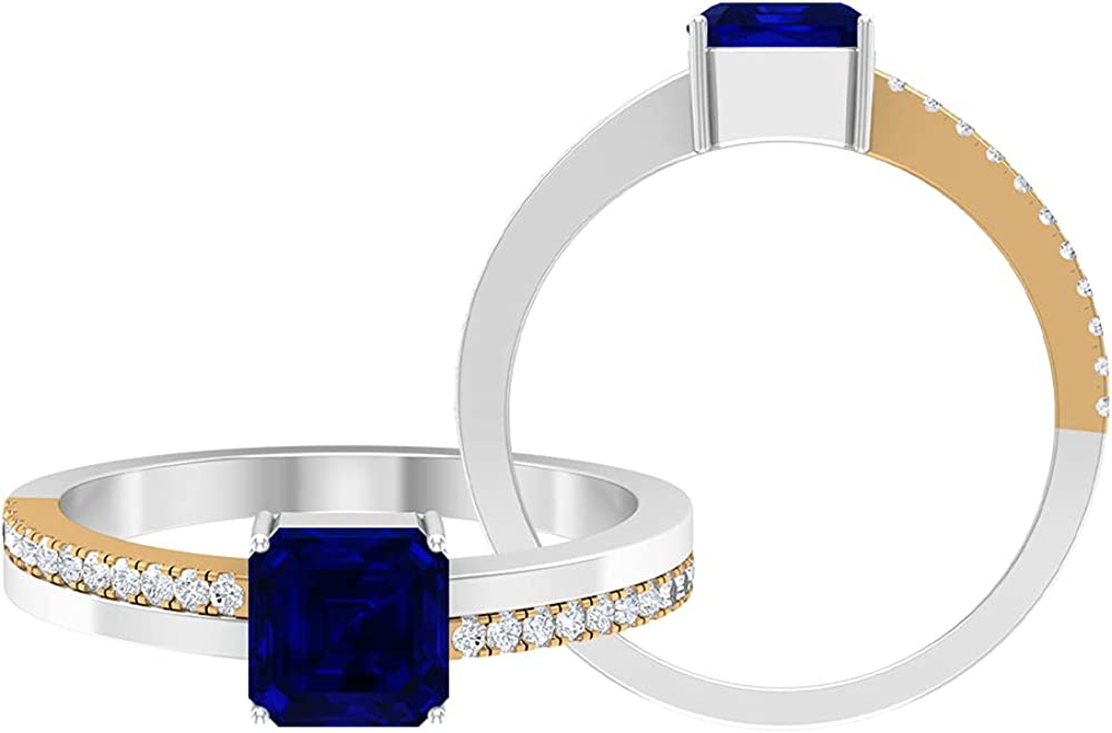 4.25 CT Two Tone Solitaire Ring with Created Blue Sapphire and Moissanite Side Stone (6 MM Asscher Cut Created Blue Sapphire), 14K Gold