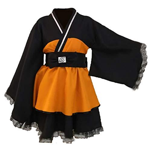 Linen Family Naruto Shippuden: Naruto Uzumaki Kimono Umhang Kleid Cosplay Kostüm Damen