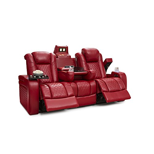 Seatcraft Anthem Home Theater Seating - Top Grain Leather - Power Recline Sofa - Fold-Down Table - Powered Headrests - Arm Storage - AC/USB and Wireless Charging - Cup Holders, Red