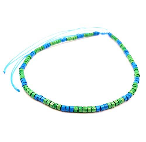 Collar surfero de coco, étnico, madera, perlas de bambú, tribal, colgante para hombre, mujer, niño, blanco, azul turquesa