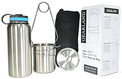 Gearland Canteen Stainless Steel Water Bottle with Nested Camping Cup...
