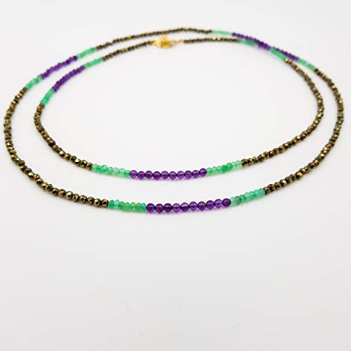 charakterperle Design Edelsteinkette inspiriert von Gustav Klimt'Der Kuss'- gold Pyrit lila violett Amethyst grün Chrysopras