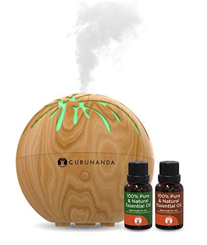 Essential Oils Starter Kit - Mini Tree Ultrasonic Diffuser, Aromatherapy Best Oil Diffuser, Essential Oils Diffuser Kits, Color Changing, Humidifier, Essential Oils Set, Auto Shutoff, GuruNanda